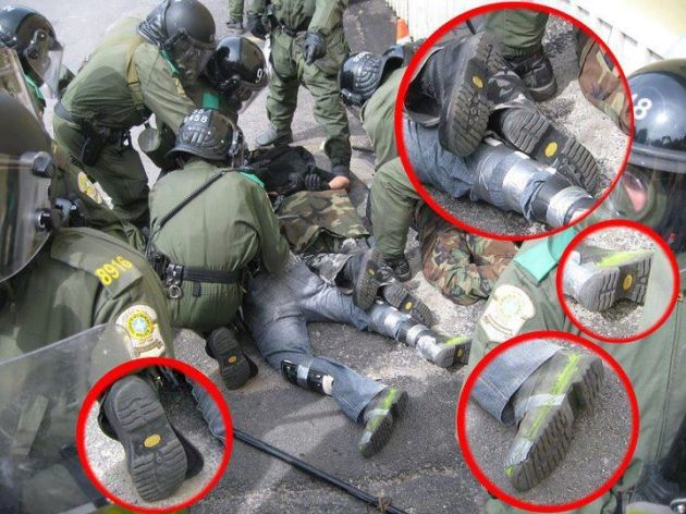 """Demonstrants"" and Police use the same shoes"
