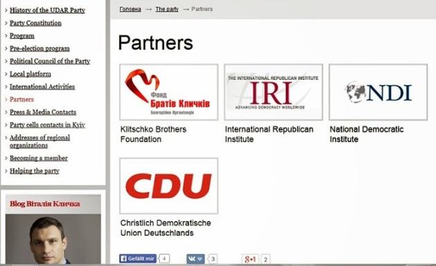 Klitschko Unterstützer: Merkels, Albrights und McCains Organisationen (UDAR Webseite)