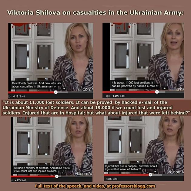 """Viktoria Schilowa über die Verluste in der ukrainischen Armee: """"Es sind ungefähr 11.000 Soldaten verloren. Es kann durch gehackte e-mails des ukrainischen Verteidigungsministeriums überprüft werden. Und etwa 19.000, wenn wir die verlorenen und verletzten Soldaten zählen. Verletzte, das sind die im Krankenhaus, was ist mit den Verletzten, die zurück gelassen wurden?"""""""